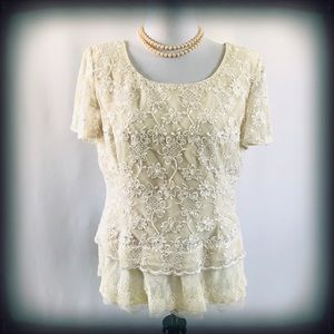 Karen Miller NY Lace & Sequin Bridal Top Sz 1X